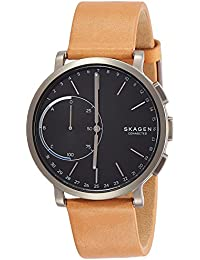 Hagen Titanium and Leather Hybrid Smartwatch SKT1104, Color Silver Tone, Tan