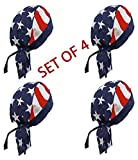 Doo Rag Set of 4 American Flag Chef Cook Food Service Skull Cap Head Wrap