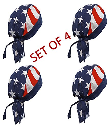 Doo Bed (Doo Rag Set of 4 American Flag Chef Cook Food Service Skull Cap Head Wrap)