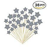 Star Cake Toppers Kids Birthday Party Baby Shower Cupcake Decorations 36pcs
