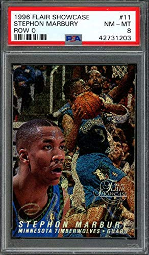 1997-97 flair showcase row 0#11 STEPHON MARBURY timberwolves rookie card PSA 8 Graded Card ()
