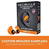 Decibullz Custom Molded Earplugs 31dB Highest NRR. Comfortable Hearing Protection for Shooting, Travel, Sleeping, Swimming, Work and Concerts (Orange)