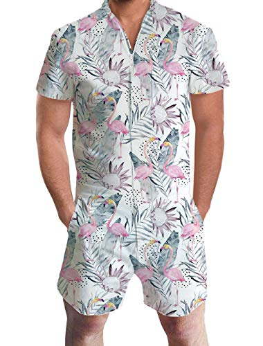 (Goodstoworld Male Hawaiian Shirt Set Fashion Short Romper Flamingos Pink Party Beach Jumpsuit Overalls Cloth Pants Boyfriend X-Large)