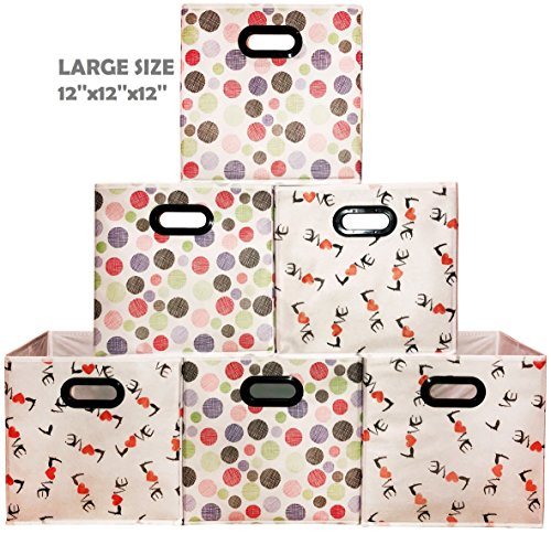 [6 Pack,Polka & Love Pattern] Large Storage Bins, Containers, Boxes, Tote, Baskets  Collapsible Storage Cubes For Household Offices Organization  Nursery Foldable Fresh Cubes  Dual Plastic Handle