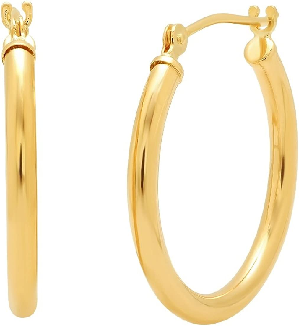 10K Yellow or White Gold 3/4 inch Round Hoop Earrings