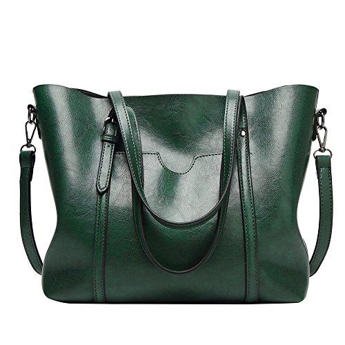 Simple Shoulder Green Faux Handbags Retro Bag Women Waxy Red LBOJA Satchel Leather Soft Tote 8wgAqc