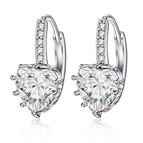 Songlanbuy Crystal Love Heart Earrings Dangle, Heart Cubic Zirconia Drop Earrings Hypoallergenic Silver Plated Copper Hook Earrings Valentine Gifts for Women, Girls or Bride Sensitive Ears (White) ()