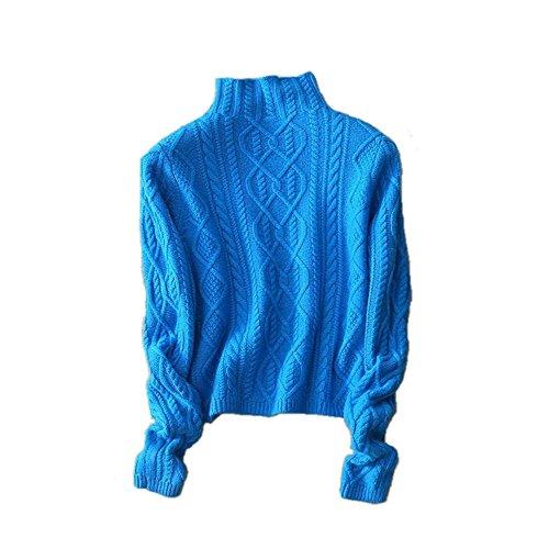 Collo Wenwenma Blu Maglione Alto In Paragrafo Pullover Invernale Di A Corto Cashmere wqprHXSxq