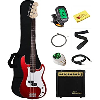 Stedman Beginner Series Bass Guitar Bundle with 15-Watt Amp, Gig Bag, Instrument Cable, Strap, Strings, Picks, and Polishing Cloth - Metallic Red