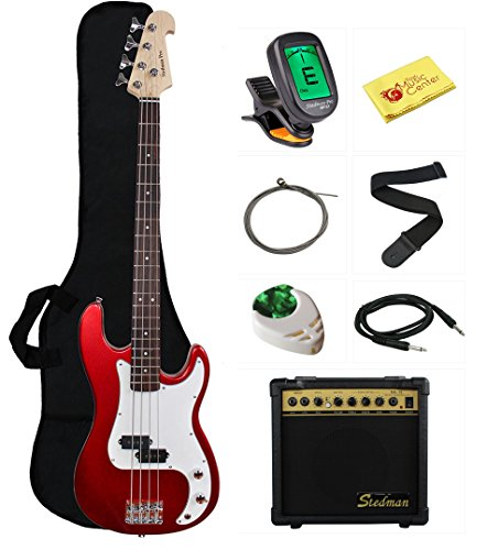 Stedman Beginner Series Bass Guitar Bundle with 15-Watt Amp, Gig Bag, Instrument Cable, Strap, Strings, Picks, and Polishing Cloth - Metallic Red by Stedman Pro