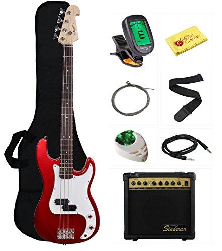 Series Amp Bass (Stedman Beginner Series Bass Guitar Bundle with 15-Watt Amp, Gig Bag, Instrument Cable, Strap, Strings, Picks, and Polishing Cloth - Metallic Red)