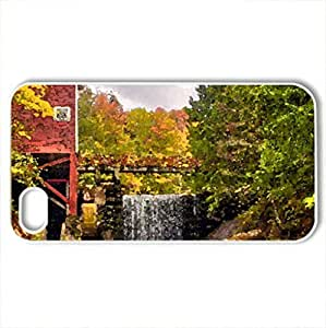 Autumn mill - Case Cover for iPhone 4 and 4s (Watercolor style, White)