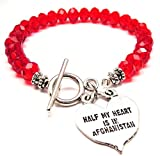 Half My Heart Is In Afghanistan Crystal Toggle Bracelet in Crimson Red