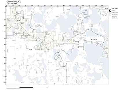 Groveland Florida Map.Amazon Com Zip Code Wall Map Of Groveland Fl Zip Code Map