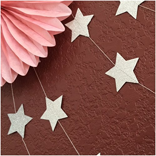 Glittery Paper Hanging Star Garland for Holiday, Birthday, Graduation and Wedding Parties. (silver)