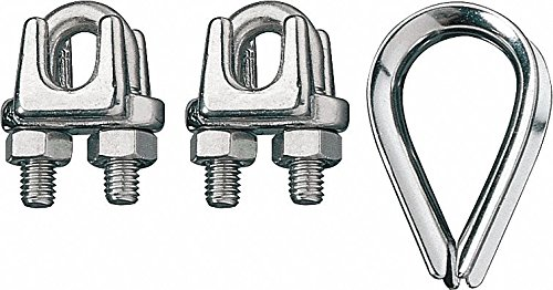 Ronstan Wire - Ronstan Wire Rope Clip and Thimble Kit, 3/16 in Natural 316 Stainless Steel ID003404-05 - 1 Each