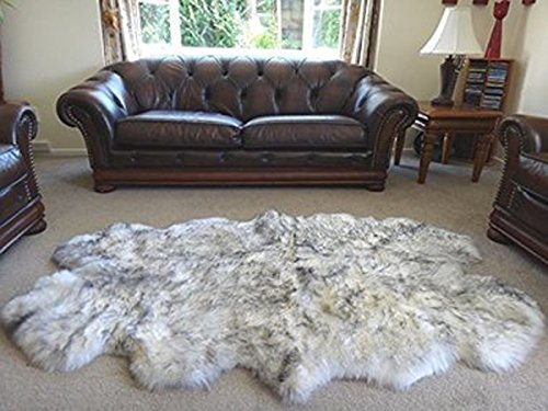HUAHOO Genuine Gray Sheepskin Rug Real Grey Sheepskin Blanket Natural Fur, 4 pelts, (Quarto/4ft x 6ft, White/Gray)