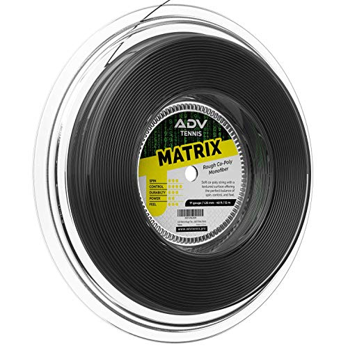 ADV Matrix Rough Tennis String - Softest Control Co-Poly - Textured Slicked Surface for Superior Spin and Feel - 17g (Black, 660)