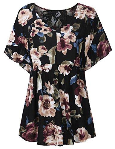 FANSIC Womens Short Sleeve Blouses Shirts,Fashion V Neck Floral Tunics (Empire Waist Floral Tunic)