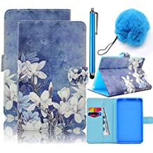 Galaxy Tab A 7.0 Case Flip,Vandot PU Leather Painting Pattern Magnetic Stand Wallet Case [Card Slots] Folio Cover for Samsung Galaxy Tab A 7.0 inch SM-T280 T285+Pompon Ball+Stylus Pen-White Flower