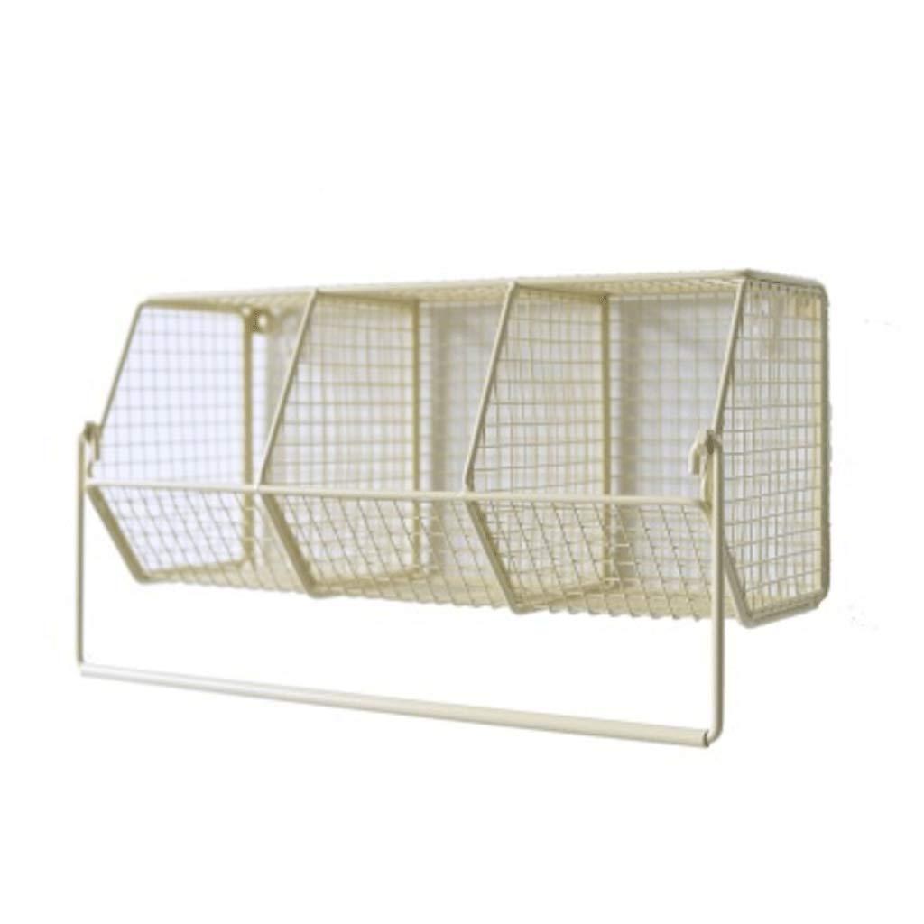 ZYN Eisen-Kunst-Wand-Einfassungs-Teilungs-Regal - Doge-kosmetischer Lagerregal-Badezimmer mit hängendem Rod-Speicher-Korb Gelb