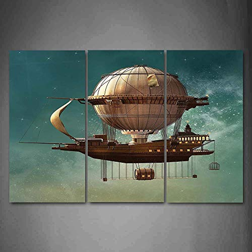Sci Fi Landscape - Yaoni 3 Piece Canvas Print,Contemporary Art, Modern Wall Decor,Surreal Sky Scenery with Steampunk Airship Fairy Sci Fi Stardust Space,Giclee Artwork,Print on Canvas car The Picture
