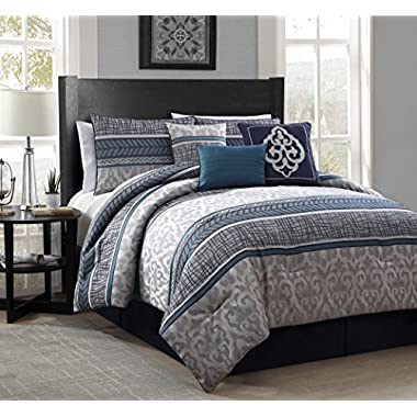 Heritage Bay 7 Piece Simon Jacquard Comforter Set, Queen, Blue