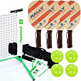 Rally Meister Pickleball Net, Paddle and Ball Set (Includes Metal Frame + Net + 4 paddles + 4 balls + Rules Sheet in Carry Bag)