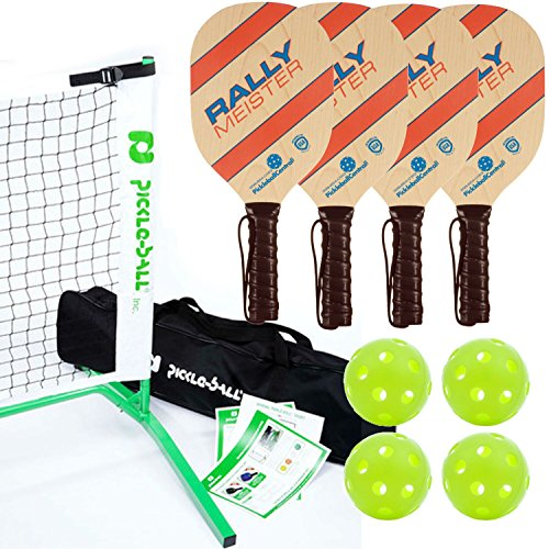 Rally Meister Pickleball Net, Paddle and Ball Set (Includes Metal Frame + Net + 4 paddles + 4 balls + Rules Sheet in Carry Bag) by Pickle-Ball