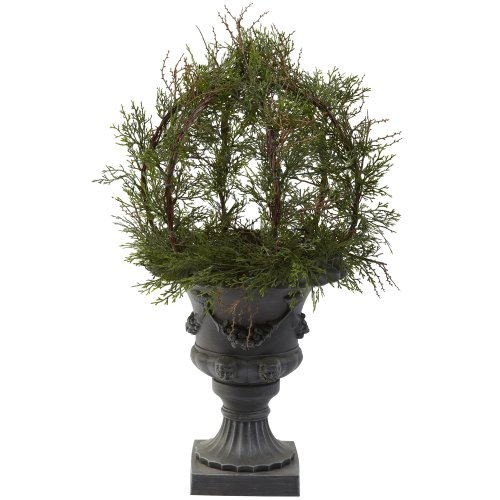 (Nearly Natural 4956 30-Inch Indoor/Outdoor Pond Cypress Topiary with Urn, Green)