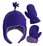 N'Ice Caps Little Girls and Baby Soft Sherpa Lined Micro Fleece Pilot Hat and Mitten Set