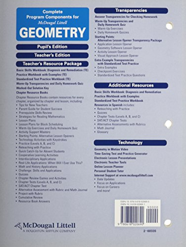 McDougal Littell Geometry Chapter 6 Resource Book