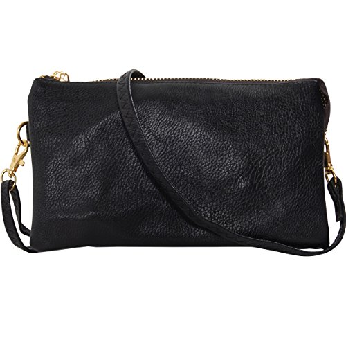 Humble Chic Vegan Leather Small Crossbody Bag or Wristlet Clutch Purse, Includes Adjustable Shoulder and Wrist Straps, Black ()