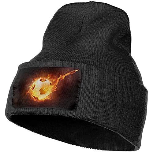 Women & Men Flame Football Ball Sport Leather Fire Winter Warm Beanie Hats Stretch Skull Ski Knit Hat Cap