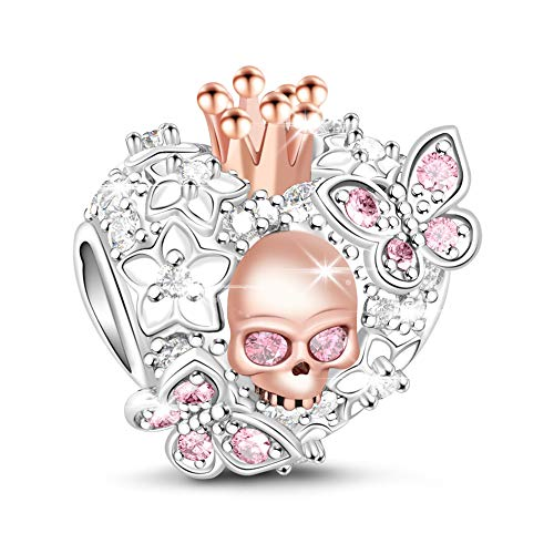 GNOCE Heart Skull Charm 925 Sterling Silver Beauty of Death Rose Gold Plated Skull Queen and Butterfly with Pink Cubic Zirconia Bead Charms fit Bracelets Necklaces