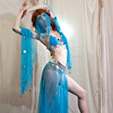 Sexy Halloween Harem Girl Belly Dance Dangling Coin Beaded Sheer 5-Piece Elastic Bra Top & Skirt, Armbands, and Veil Costume Set --Turquoise 32-36AB