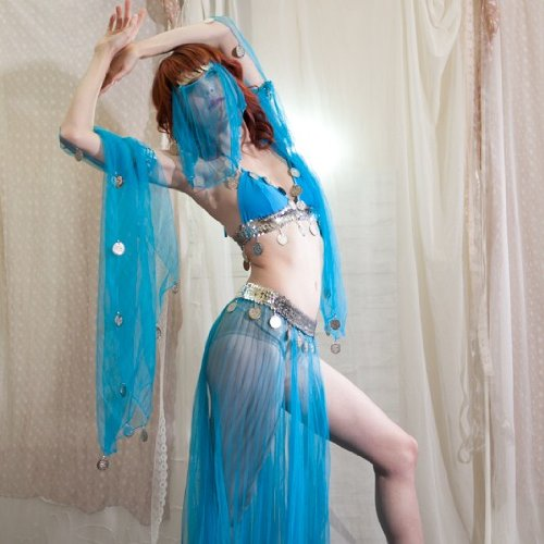 Sexy Halloween Harem Girl Belly Dance Dangling Coin Beaded Sheer 5-Piece Elastic Bra Top & Skirt, Armbands, and Veil Costume Set --Turquoise 32-36AB by Belly Dance Costume