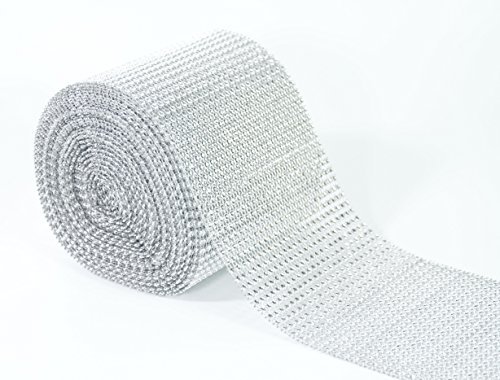 ALL in ONE 10 Yards/30ft Sparkling Faux Rhinestone Ribbon Wrap for DIY Craft Wedding Party Events Decoration (Silver)