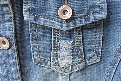 Classic Pink Damen Jeansjacke Übergangsjacke Leichte Jacke Denim Casual Boyfriend Sakko Mit Knöpfen Jacken Einfarbig Bekleidung