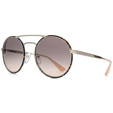 4889bb1b3a5 Prada Double pont métallique ronde lunettes de soleil argentée Havane foncé  rose dégradé PR 51SS 2AU4K0