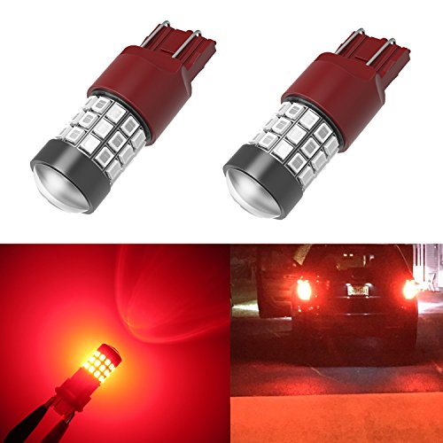 Alla Lighting 7443 LED Bulbs Super Bright T20 Wedge LED 7440 7443 Bulb 39-SMD High Power 2835 Chipsets LED W21W 7443 7440 Pure Red Brake Stop Tail Light Lamp Bulbs Replacement (Set of 2)