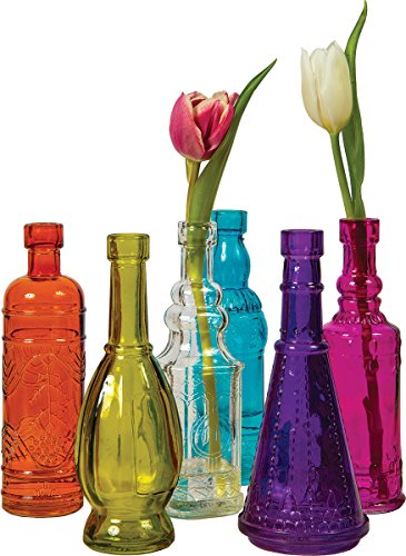 Luna Bazaar Small Vintage Glass Bottle Set (7-Inch, Cheyenne Design, Multicolor Glass, Set of 6) - Flower Bud Vases Bulk - For Home Decor and Wedding Centerpieces
