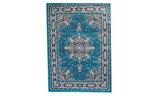 Luxury Linen Collection Oriental Classic Floral Design Area Rug High Pile Heat set New D653 (5'X7', Turquoise/Grey)