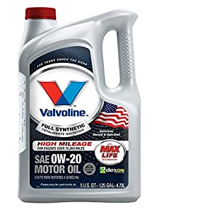 Valvoline Full Synthetic High Mileage with MaxLife Technology 0W-20 Motor Oil - 5qt (852399)