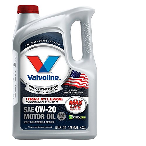 valvoline 0w 20 full synthetic high mileage motor oil