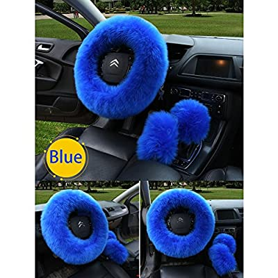 zzxswc Multicolor Fuzzy Steering Wheel Cover Car Accessories Universal Fit Car Steering Wheel Gear Shift Cover Handbrake Cover (Blue): Automotive