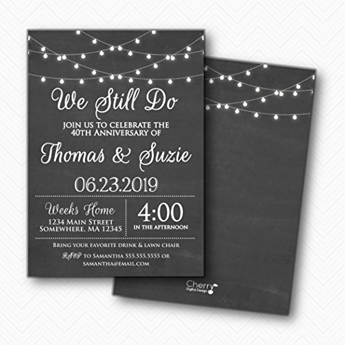 - We Still Do Printed Chalkboard Anniversary Party Invitations   Envelopes Included