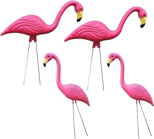 HomeDecTime 4 Piezas Realistas Grandes Rosa Flamenco Jardín Decoración Césped Arte Adornos Artesanías: Amazon.es: Jardín