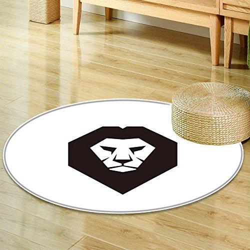 "Small Round Rug CarpetLion Head Vector Logo Template Concept Illustration Wild cat Graphic Sign DesigDoor mat Indoors Bathroom Mats Non Slip-Round 47"""