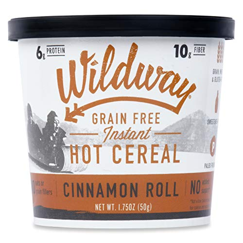 (Wildway Grain-free Instant Hot Cereal Cups - Cinnamon Roll (Gluten-free, Paleo, Keto, Non-GMO) 1.75oz, Pack of 6)